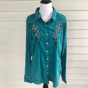 Roar Turquoise Button Down Western Shirt